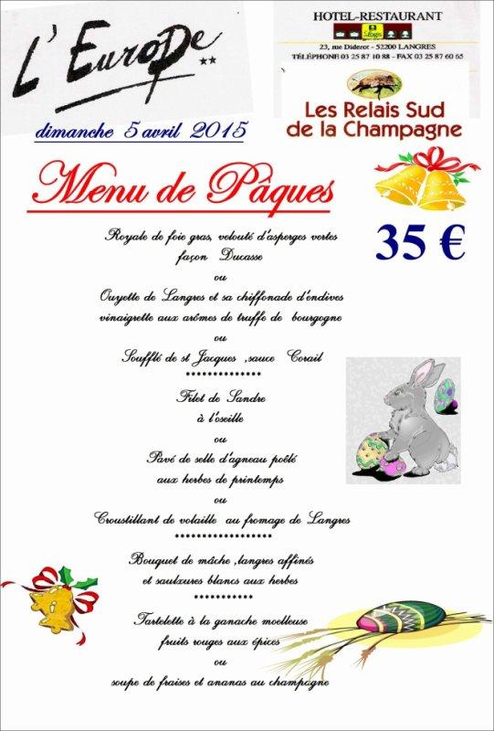menu de Pâques 2015