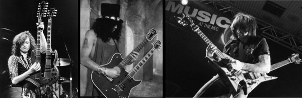 AXL ROSES  SLASH JIMMY PAGE DOUBLE GUITARE