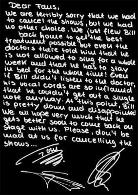 la lettre d'excuse pr les 3 concert annulé   le phénomène de tokio