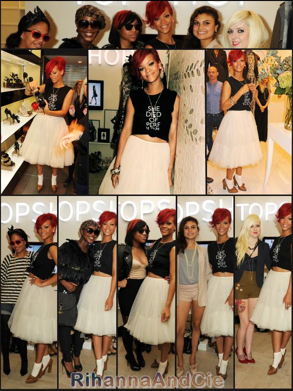 -- Lundi 4 Octobre 2010 : Rihanna ( rejoins par Matt Kemp )en escapade dans le magasin « TopShop » d'Oxford Circus à Londres avec 5 fans chanceuses qui ont  gagner une après-midi shopping avec la présence de la belle barbadienne --