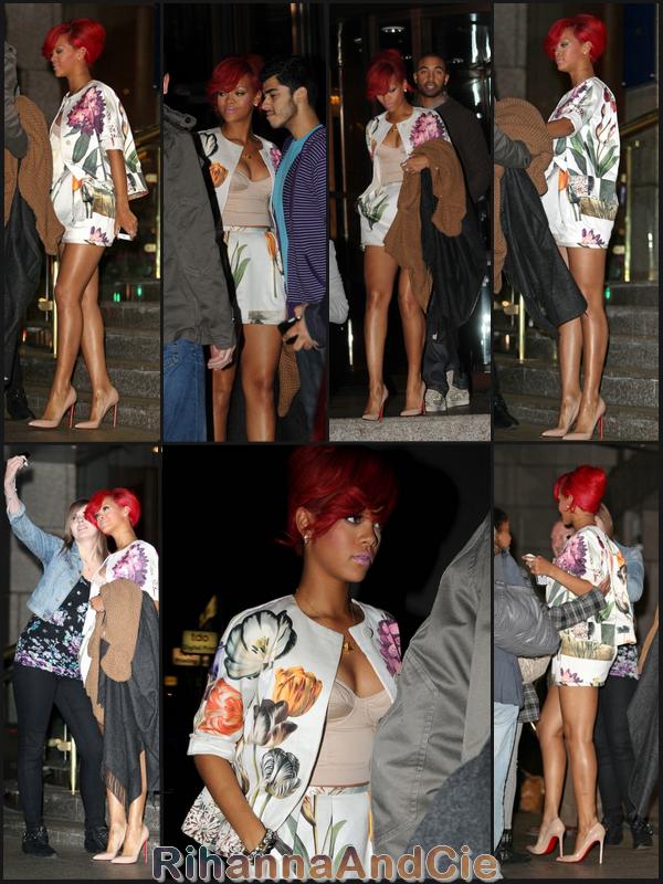 -- Mardi 5 Octobre 2010 : Rihanna et son boyfriend Matt Kemp quittent leur hôtel de Londres pour se rendre au  « Sketch » un restaurant londonien--