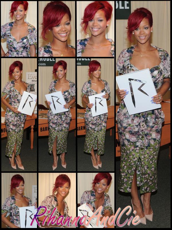 """-- Mercredi 27 Octobre 2010 : Rihanna a était aperçue dans la journée dans la librairie Barnes & Noble qui se trouve dans les rues de New York. Notre Barbadienne y était pour promouvoir et dédicasser son livre intitulé """"The Last Girl On Earth Tour: Book"""".. Look's very flowery   --"""