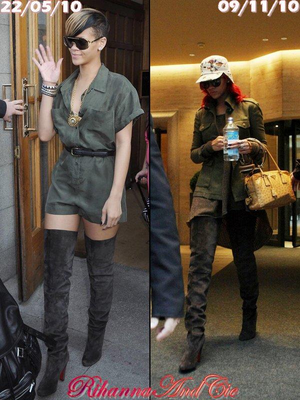 -- Voici 2 photos de Rihanna avec de longues cuissardes signée Louboutin qu'elle a portait en Mai et en Novembre. Votez pour la manière dont Rihanna porte le mieux ces cuissardes ..--