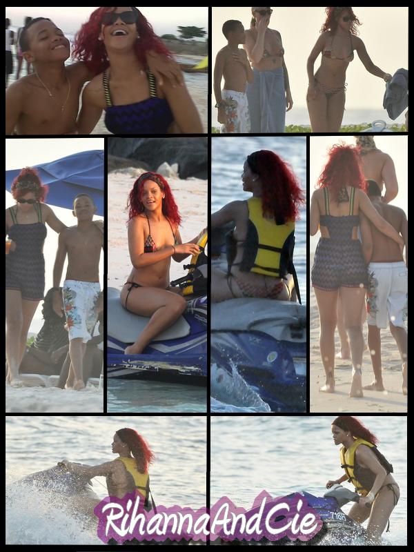 -- ▬ Lundi 27 Décembre 2010 : Rihanna était de-nouveau ce Mardi sur les plages de sable chaud de la Barbade en compagnie d'amis et de son petit frère Rajad (14 ans), la belle a cette fois sortis le bikini pour notre plus grand plaisir, elle c'est aussi amusée a faire du jet-ski. So crasy Rihanna...  --
