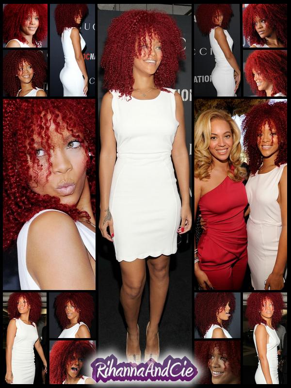 """-- ▬ Samedi 12 Février 2011 : Comme chaque années avant la cérémonie des cultisme Grammy Award, des soirées appelées """"Pré-Grammy"""" sont organisées par diverses marques et/où designer/couturier. Cette année Rihanna c'est rendu celle organisée par Roc-Nation et Gucci. La belle a pu y retrouvée son mentor Jay-Z, Will Smith mais aussi son amie Beyoncé.  --"""