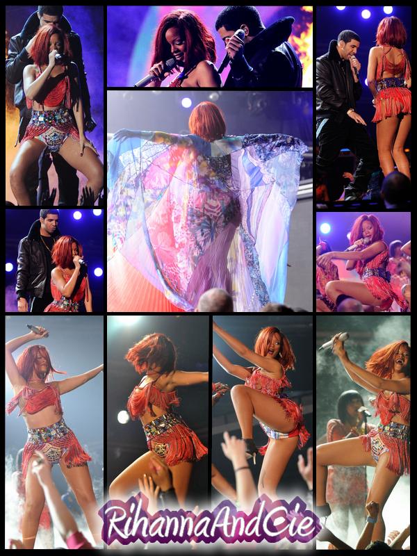 """-- ▬ Voici plusieurs photos de la magnifique performance de Rihanna sur """"What's My Name ?"""" en duo avec Drake, Une sublime performance avec une tenue Muy Caliente..  --"""
