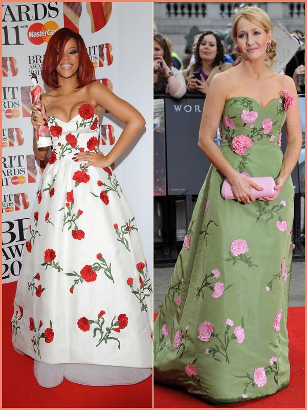 -- Rihanna et JK Rowling portent la même robe signée Oscar de la Renta--