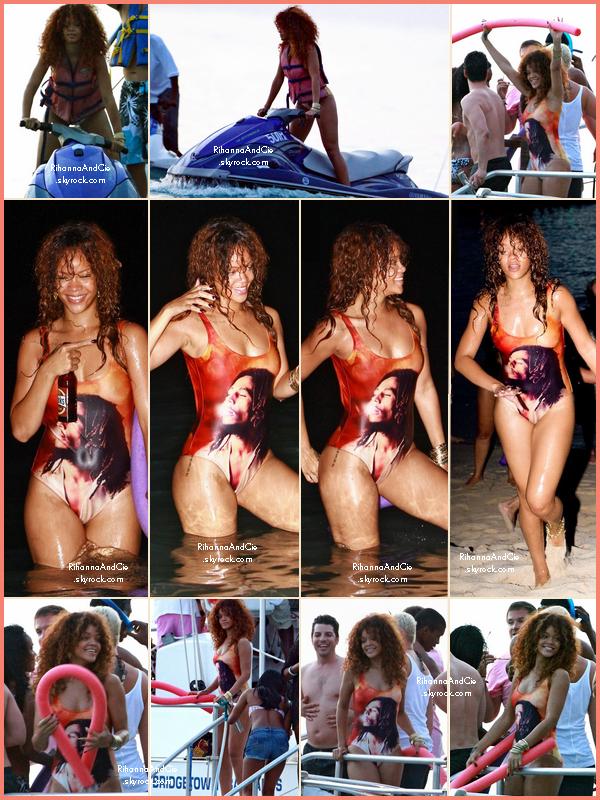 -- 6 Août 2011 : Rihanna a été apperçue sur les plage de la Barbade  avec un maillot à l'éffigie de Bob Marley.. --