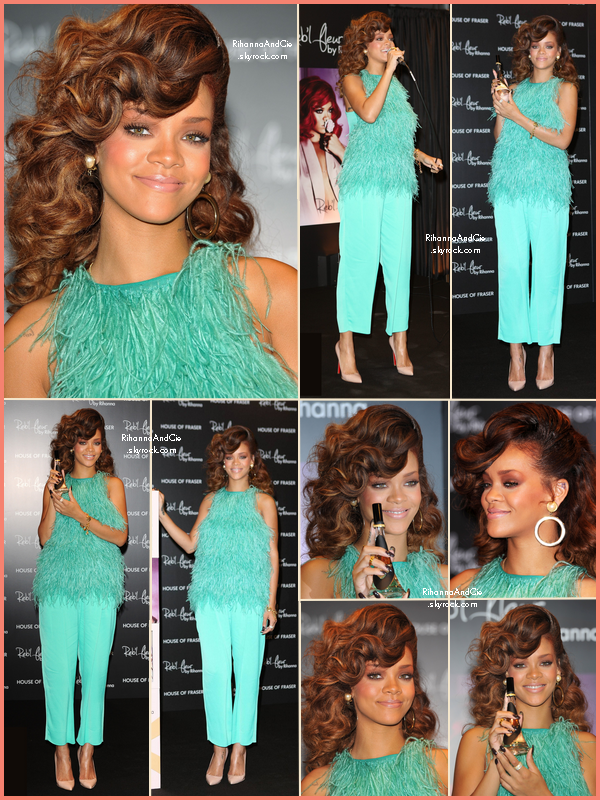 -- 19 Août 2011 : Rihanna dans le magasin House of Fraser  pour la promotion de Reb'l Fleur au Royaume-Unis.. --