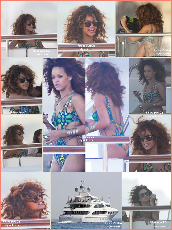 -- 22 Août 2011 : Rihanna a était photographier sur un Yatch sur les côtes française en direction de Cannes.. --