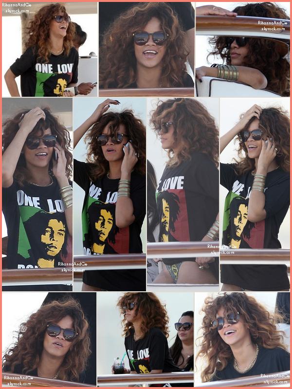 -- 22 Août 2011 : Rihanna vient tous juste d'arrivée à Cannes avec ses amis dans son Yatch de luxe.. --