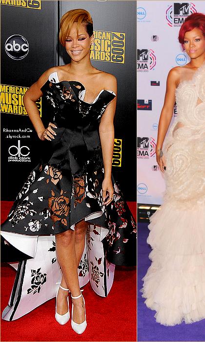 - - Rihanna dans des robes signées Marchesa.. - -
