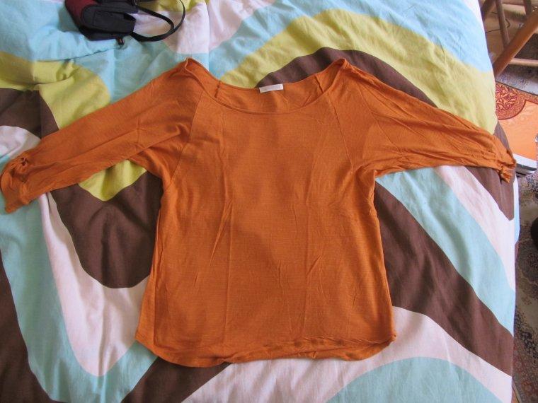 teeshirt orange manches mis longues 6e