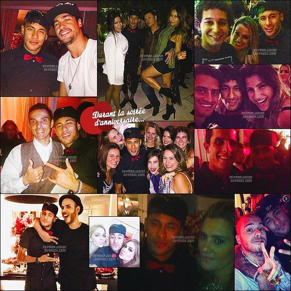 . 04 Juillet 2015 : Cette fois, c'est à l'anniversaire de Marina Ruy Barbosa et Luma Costa que l'on retrouve Neymar - BR ! Niveau look, je donne un top à Neymar. J'aime beaucoup la petite touche fantaisie avec le noeud pap' rouge et bien sur, sa casquette !.