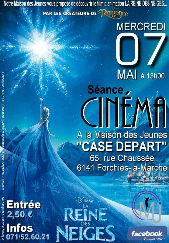 "Projection du film d'animation ""La Reine des neiges"" à la MJ ""Case Départ"" le 7 mai 2014"