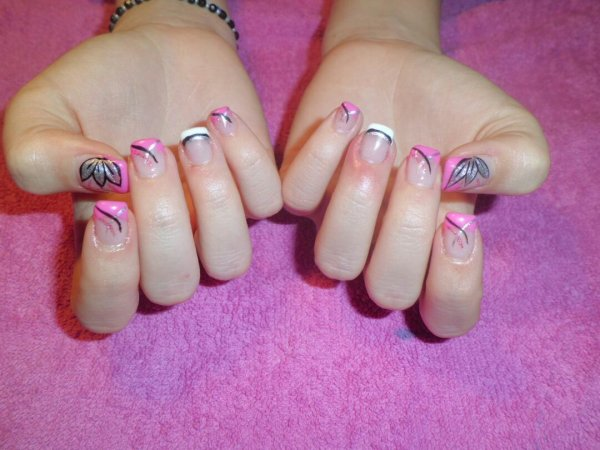 Pose rose et blanc en gel