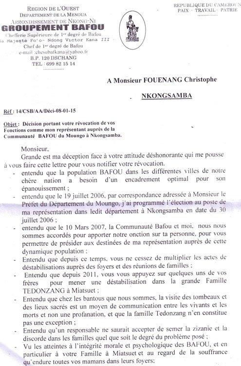 Bafou: Le Roi des Bafou destitue son représentant à Nkongsamba !
