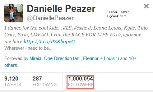 Danielle a atteint les 1 000 000 de followers sur Twitter