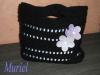 sac noir a fleurs mauve
