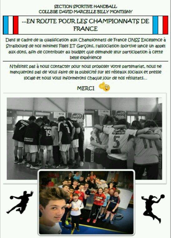 Besoin d'aide pour un championnat de France handball