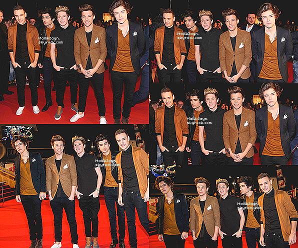 - 26/01/13 : Les One Direction lors des Nrj Music Awards à Cannes. + Leur performance de Kiss You et leurrécompensepuis des photos de l'interview avec Cauet. -