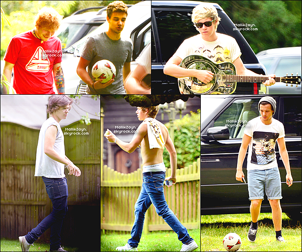 _ 08/08/12 : Les One Direction étaient en compagnie d'Ed Sheeran après un enregistrement en studio. _