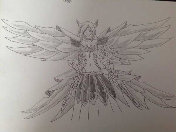 Dessin d 39 erza scarlet armure de la nature fairy tail - Dessin armure ...