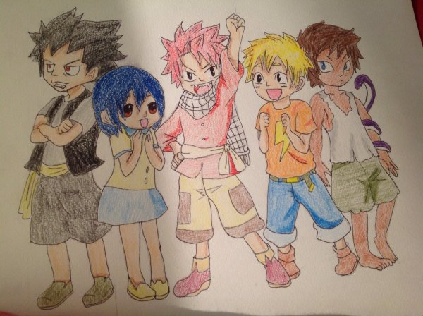Dessin des dragon slayer enfant (fairy tail)