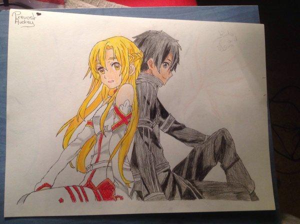 Dessin d'Asuna et Kirito ( Sword Art Online )