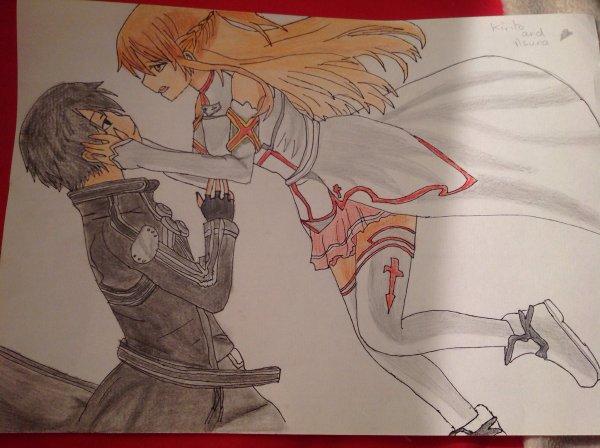 Dessin d'Asuna et Kirito ( Sword Art Online ) n°2