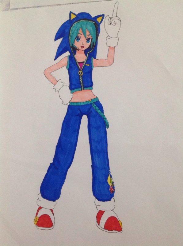 Dessin de Hatsune Miku en cosplay de Sonic !! XDD