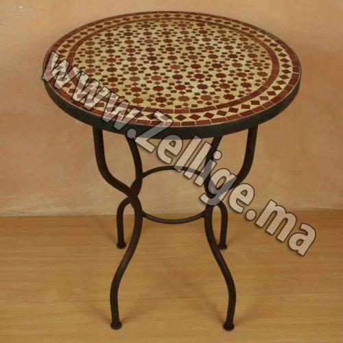 Table En Zellige Ronde Marron Et Beige Zellige Marocain