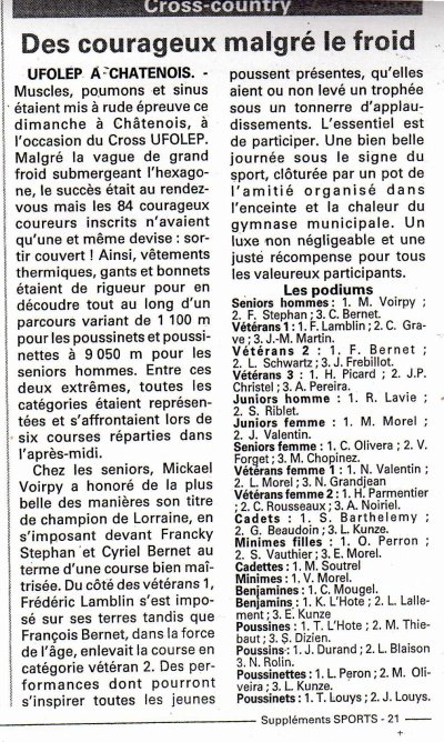 """"""" Championnat de Lorraine Cross """" à Châtenois, le  5.02.2012"""