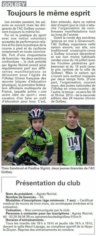 """Présentation du club par """" Vosges Matin """" du 24.09.2012"""