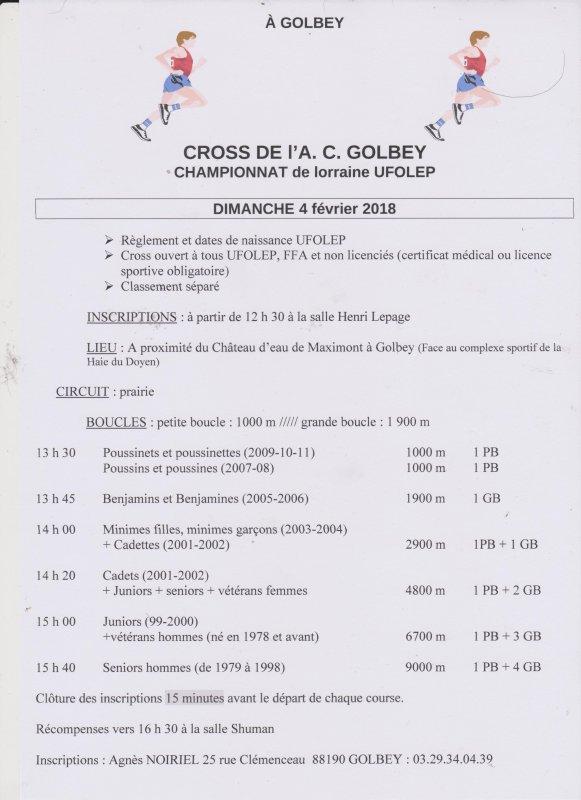 Championnat de Lorraine de Cross UFOLEP, Golbey, le 04.02.2018