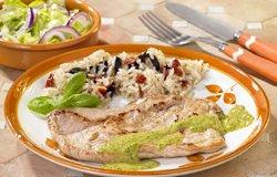 Escalope de porc à la salsa verde et riz méridional