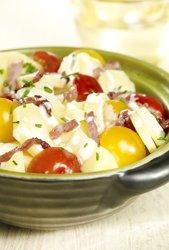 Salade panais-pommes de terre et petits lardons au curry ( Colruyt )