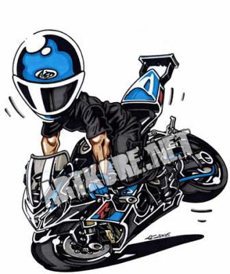 Un dernier dessin mai cette fois si a l 39 figie du stunt - Dessin de motard ...