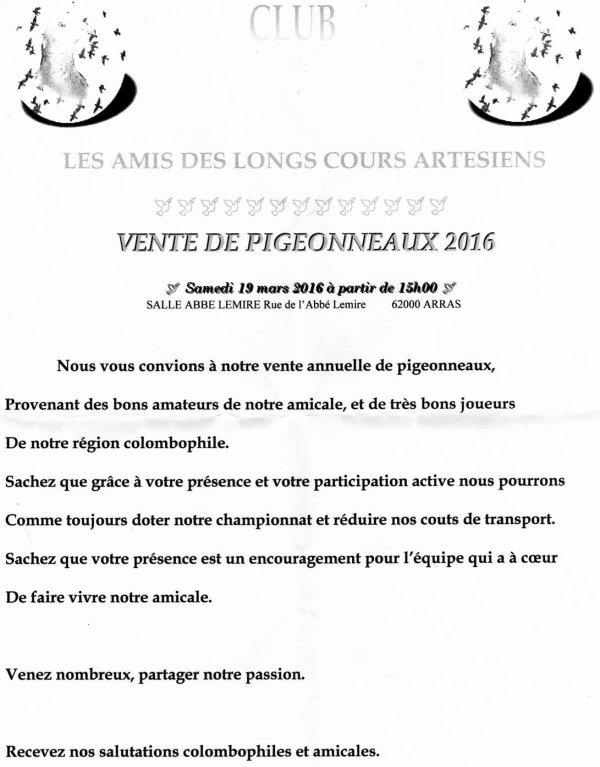 VENTE DE PIGEONNEAUX 2016