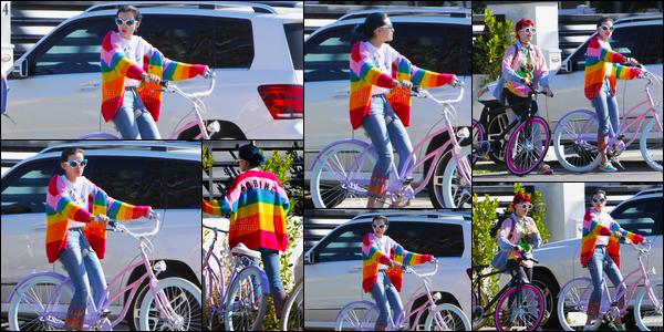 - 12/02/17 : Bella.T a été vue, avec des amis, chevauchant sa bicyclette pour une virée dans Los Angeles.Entre la (presque) même sortie vélo du 09/02 et le gilet tout droit sorti d'une mauvaise gay-pride déjà vu fin janvier, je suis en PLS. • Top or Flop ? -