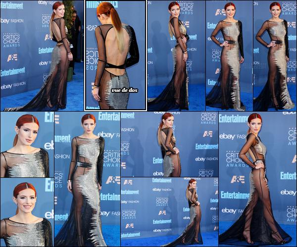 - 11/12/16 : Bella Thorne était présente à la 22ème cérémonie des Critic's Choice Awards à Santa Monica !Pour moi, miss Thorne a tout faux. Je n'aime ni la tenue, ni la coupe de cheveux, ni le make-up, bref, je préfère oublier cet event. • Top or Flop ? -