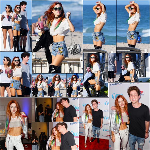 - 18/12/16 : La sublime Bella Thorne a été aperçue sur une plage de Miami en compagnie de Charlie Puth.Ensuite, notre actrice favorite était présente au «Y100 Jingle Ball», toujours avec Charlie mais dans la ville de Sunrise cette fois. • Top or Flop ? -