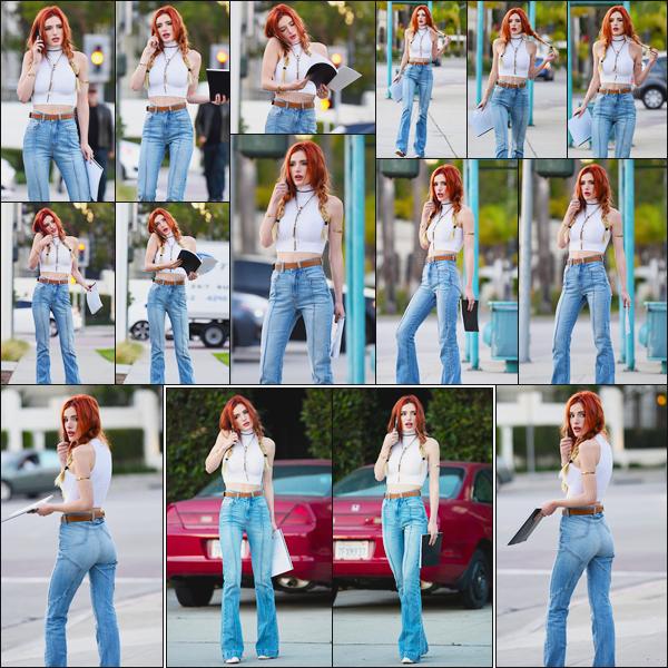 - 29/11/16 : Notre jolie Bella Thorne a été photographiée devant les locaux de Sony Pictures à Culver City.Wow, c'est vraiment une tenue coup de coeur pour ma part ! J'adore le coté vintage de celle-ci et Bella.T porte si bien ce style... • Top or Flop ? -