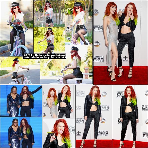 - 20/11/16 : La jolie Bella était présente à la 44ème cérémonie des American Music Awards à Los Angeles.La jolie artiste était accompagnée sur le tapis rouge par sa soeur Dani, et leur duo est plutôt d'enfer sur celui-ci ! J'adore, j'adhère ! • Top or Flop ? -