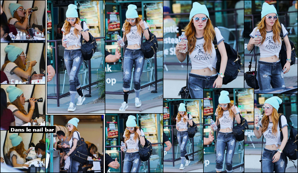 - 21/10/16 : Bella Thorne a été photographiée quittant un nail bar dans le quartier d'Encino, à Los Angeles.Aujourd'hui, critique look ! J'aime beaucoup la tenue que porte notre Bella même si le bonnet est, je trouve, superflu pour celle-ci. • Top or Flop ? -