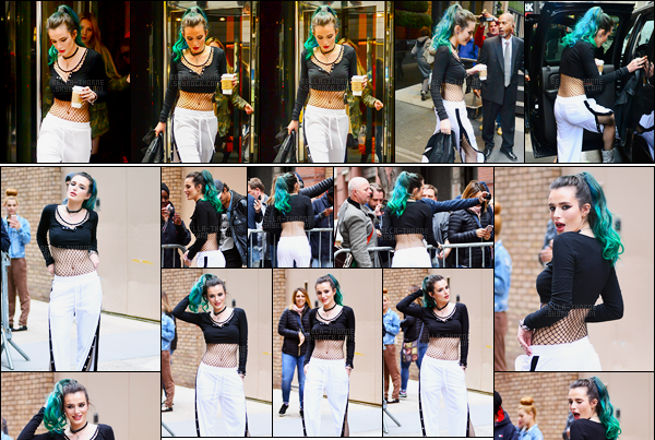 - 19/04/17 : Notre magnifique Bella Thorne a été photographiée quittant son hôtel, situé à New-York City !Miss Thorne se rendait au show matinal « Live With Kelly » où elle a donné une interview à propos de la série Famous in Love. • Top or Flop ? -