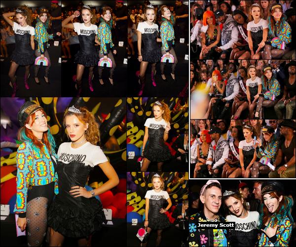 - ..10/06/16.. -  Bella Thorne et sa s½ur Dani étaient présentes au défilé «Moschino», (printemps/été 2017) !Le défilé de la marque de haute-couture, dirigée par le grand Jeremy Scott, avait lieu sur la côte-ouest, plus précisément dans la ville de Los Angeles. -