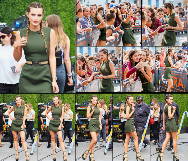 - 07/06/16 : La sublime B.Thorne a été vue arrivant dans les locaux de l'émission EXTRA, à Los Angeles !Coiffée de tresses plaquées et vêtue d'une sublime robe kaki, notre Bella était vraiment en bombe ! Et vous, qu'en pensez-vous ? • Top or Flop ? -