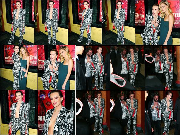 - ..10/10/17.. - Bella Thorne était présente lors de l'avant-première de « The Babysitter » dans Los Angeles.Notre magnifique miss Bella Thorne, a ensuite, été photographiée quittant l'avant-première... Coté tenue, sa tenue est très jolie à mon goût, un top ! -