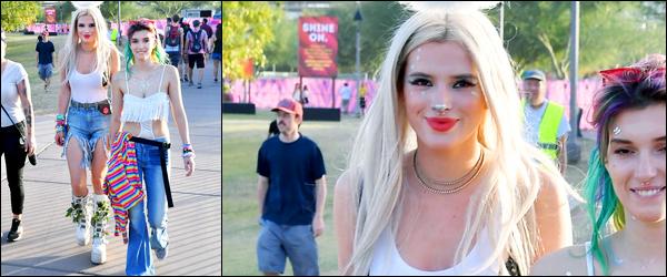 - ..21/10/17.. - Bella Thorne a été photographiée, alors, qu'elle arrivait au « Lost Lake Festival » à Phoenix.Notre magnifique miss B. Thorne est apparue chevelure blonde pour s'y rendre. Deux photos de dispo... Coté tenue, c'est plutôt jolie, c'est un top ! -